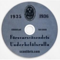 Försvarsväsendets Underbefälsrulla år 1935 och 1936