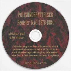 Allmänt register N:o 1  Polisunderättelser år 1878-1884